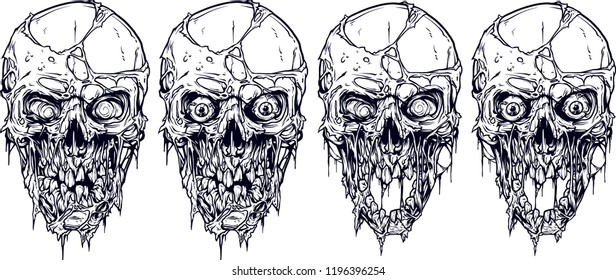 Detailed graphic realistic cool white human skulls with horrible pieces of dead skin, eyes, open mouth and broken teeth. On white background. Vector icon set.