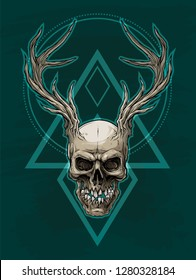 Detailed graphic realistic horrible colorful human skull with big deer horns or antlers. Isolated on green background with symbols. Vector icon.