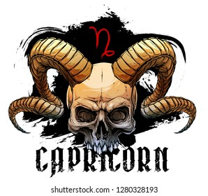 Detailed graphic realistic horrible colorful black and white human skull with big sharp deamon horns or antlers. Isolated on white background. Vector capricorn icon.