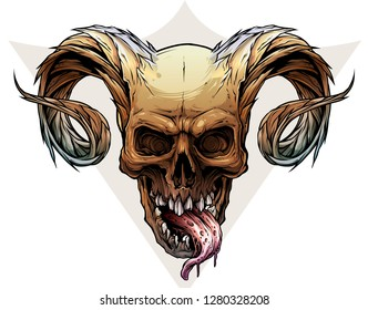 Detailed graphic realistic horrible colorful black and white human skull with big sharp deamon horns or antlers and tongue. Isolated on white background. Vector icon.