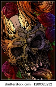Detailed graphic realistic horrible colorful human skull with big sharp bull horns or antlers. On background with roses. Vector icon.