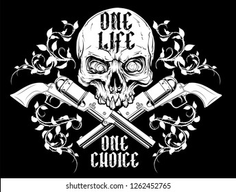 Detailed graphic realistic white human skull with crossed revolvers and rose spikes . On black background. Vector icon.