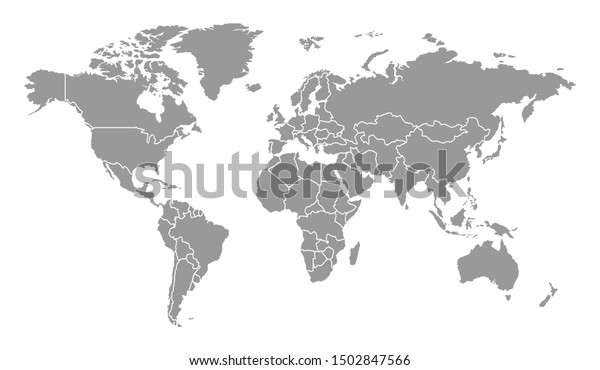 Detailed Gray World Map Separated Country Vector Design