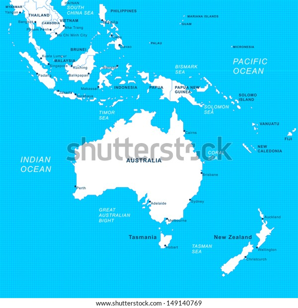 Map Of Asia Australia.Detailed Grip Map South Asia Australia Stock Vector Royalty Free