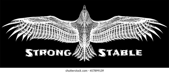 Detailed hand drawing eagle for tattoo. Boho chic. Isolated drawing flying condor or owl. Print for t-shirt.
