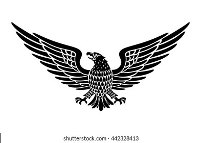 Detailed Hand Drawn Eagle Holding Scroll Vector art