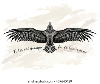 Detailed hand drawn eagle for tattoo. Black condor with the inscription.Boho chic. Drawing pencil sketch flying owl. Print for t-shirt.