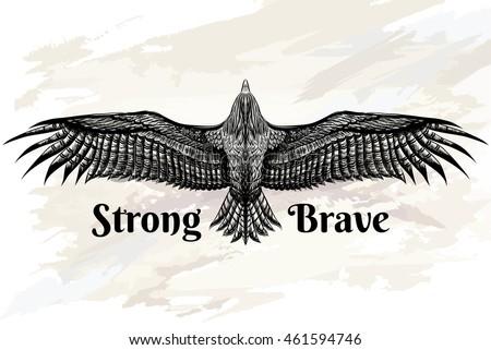 Detailed Hand Drawn Eagle Tattoo Drawing Vector de stock (libre de ...