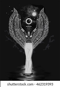 Detailed hand drawn egyptian goddess of the Kingdom of the dead. Woman with wings on a black background. Hathor. ISIS.