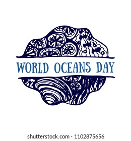 Detailed hand drawn logo. World oceans day, Summertime, Deep blue ocean. Suitable for print and web