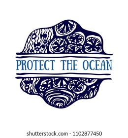 Detailed hand drawn logo. World oceans day, Deep blue ocean. Suitable for print and web. Inscription - Protect the ocean