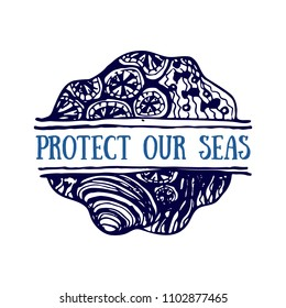 Detailed hand drawn logo. World oceans day, Deep blue sea. Suitable for print and web. Inscription - Protect our seas