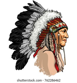 Detailed, hand drawn, native american sitting bull vector portrait. Headdress with feathers indian chief of tribe.