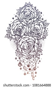 Detailed hand drawn rose flower stem with roses and leaves decorated by beads and crystal gemstones. Floral motif, tattoo design element. Bouquet concept art. Isolated vector illustration.