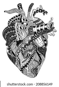 detailed hand-drawn psychedelic illustration of human heart