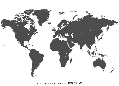 Detailed, high resolution, accurate vector map of the world printed in grey ink on a white background.