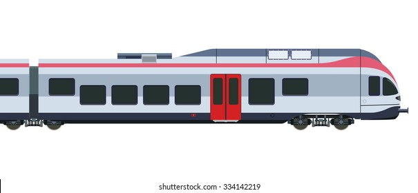 Detailed high-speed train on a white background