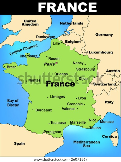 Map Of France Detailed.Detailed Illustrated Map France Stock Vector Royalty Free