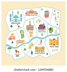 Detailed illustrated map of Philadelphia city with landmarks, famous destinations, elements.