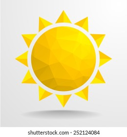 detailed illustration of an abstract polygon sun, eps10 vector