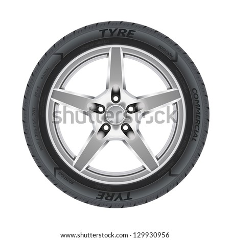 Detailed illustration of alloy car wheel with a tire.