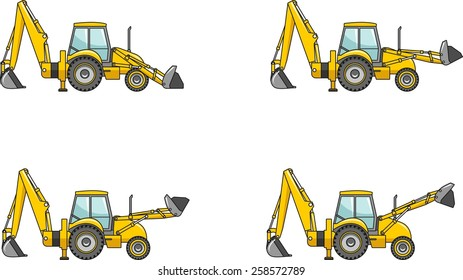 Detailed illustration of backhoe loaders, heavy equipment and machinery