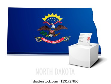 detailed illustration of a ballotbox in front of a map of North Dakota, eps10 vector