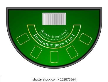 detailed illustration of a black jack gambling table, eps10 vector