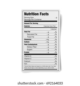 detailed illustration of a black and white nutrition facts label, eps10 vector