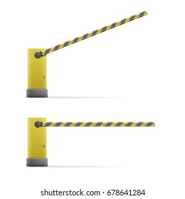 detailed illustration of black and yellow open and closed car barriers, eps10 vector