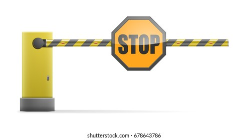 detailed illustration of a black and yellow striped car barrier with stop sign, eps10 vector