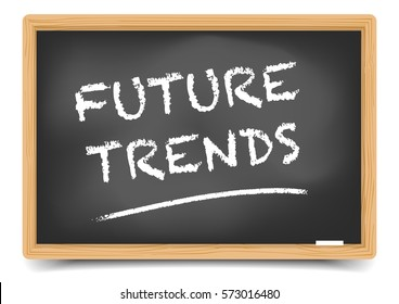 detailed illustration of a blackboard with Future Trends text, eps10 vector, gradient mesh included
