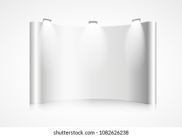 detailed illustration of a blank curved exhibition wall, eps10 vector