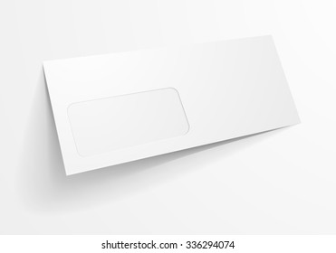 detailed illustration of a blank envelope with window mockup template, eps10 vector