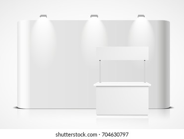 detailed illustration of a blank exhibition wall with booth in front, eps10 vector