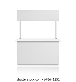detailed illustration of a blank Promotion counter, Retail Trade Stand Isolated on white background, eps10 vector