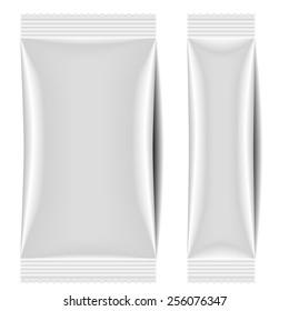 detailed illustration of a blank sachet packaging template, eps10 vector