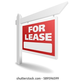 detailed illustration of a blank white For Lease real estate sign, eps10 vector