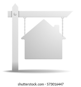 detailed illustration of a blank white real estate sign in shape of a house, eps10 vector