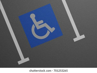 detailed illustration of a blue wheelchair sign in a parking lot