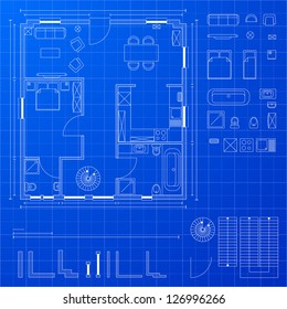 detailed illustration of a blueprint floorplan with various design elements, eps 10