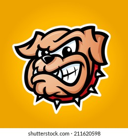 Detailed illustration of bulldog head with angry face emotion, good for team sport school college logos, vector