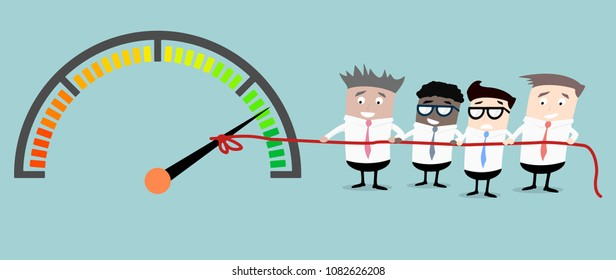detailed illustration of businessmen working together to reach a goal, business concept, eps10 vector