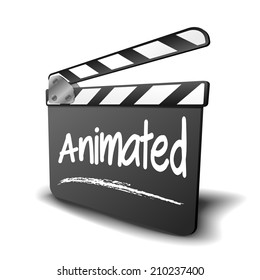 detailed illustration of a clapper board with Animated term, symbol for film and video genre, eps10 vector