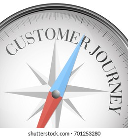 detailed illustration of a compass with Customer Journey text, eps10 vector