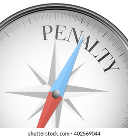 detailed illustration of a compass with Penalty text, eps10 vector
