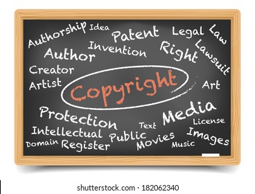 """detailed illustration of a """"copyright"""" wordcloud on a blackboard, eps10 vector, gradient mesh included"""