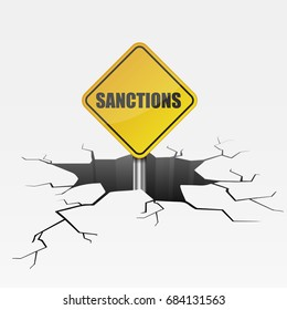 detailed illustration of a cracked ground with sanctions sign, eps10 vector