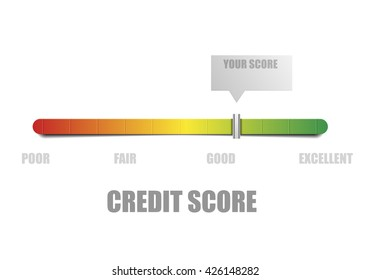 detailed illustration of a credit score meter with pointer, eps10 vector