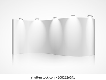 detailed illustration of a curved blank exhibition wall, eps10 vector